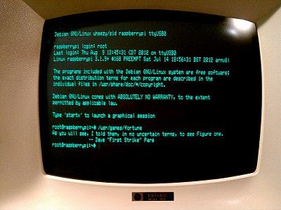 Rasberry Pi session on a dumb terminal
