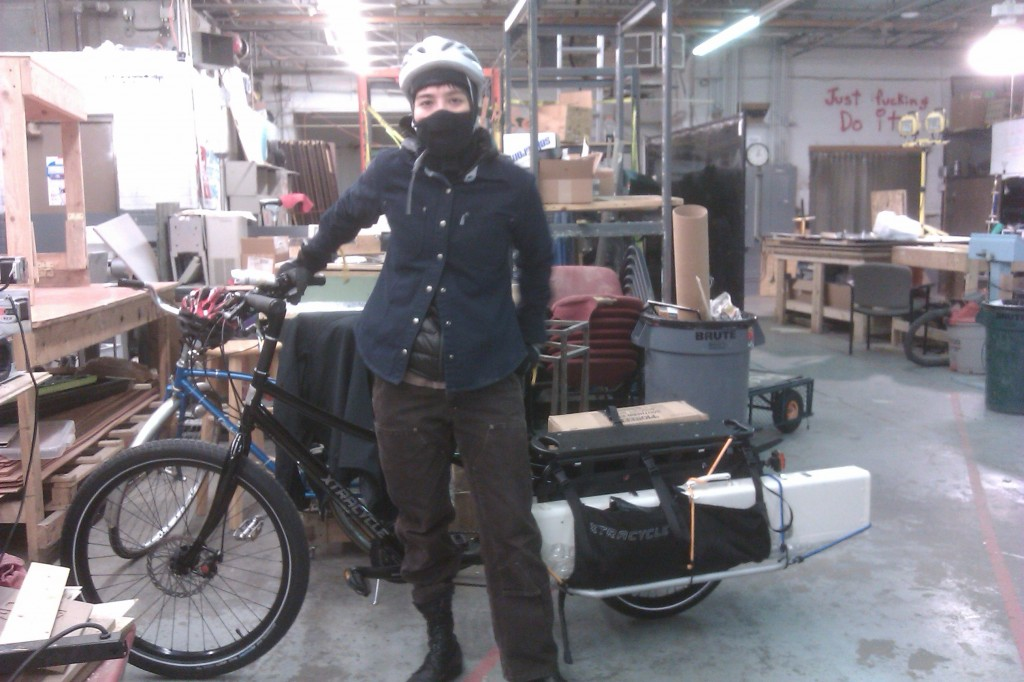 Because why wouldn't you carry a knitting machine on a bicycle when it's 20 degrees outside?
