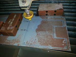 Panel insert in waterjet