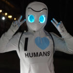 """Skylar at Katsucon dressed as Drossel with a hoodie that says """"I HEART HUMANS"""""""