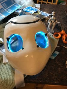 Drossel mask as one piece with LEDs on
